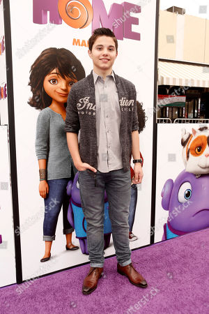 "Stock Image of Zach Callison seen at the Twentieth Century Fox and DreamWorks Animation Los Angeles Premiere of ""Home"" held at the Regency Village Theatre, in Westwood, Calif"