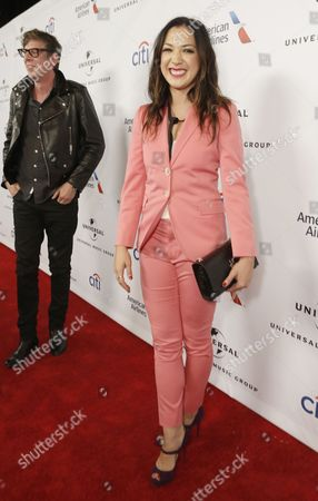 Patrick Carney, left, and Michelle Branch arrive at Universal Music Group Grammy Party Presented by American Airlines and Citi at The Theatre at Ace Hotel, in Los Angeles, CA
