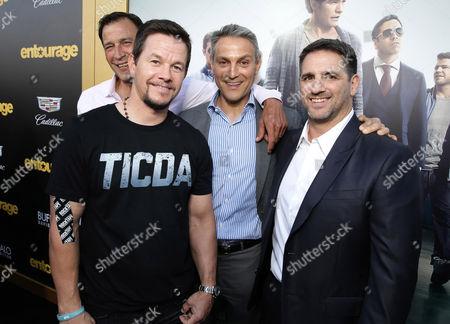 "Johnny Alves, Mark Wahlberg, Ari Emanuel and Producer Stephen Levinson seen at Warner Bros. Premiere of ""Entourage"" held at Regency Village Theatre, in Westwood, Calif"