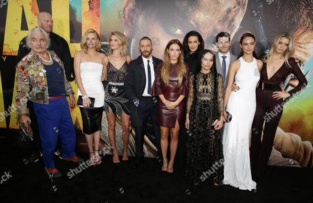 "Hugh Keays-Byrne, Charlize Theron, Rosie Huntington-Whiteley, Tom Hardy, Riley Keough, Megan Gale, Zoe Kravitz, Josh Helman, Courtney Eaton and Abbey Lee seen at the Warner Bros. premiere of ""Mad Max: Fury Road"", in Los Angeles"