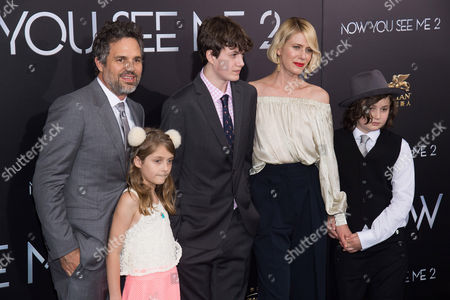 "Stock Image of Mark Ruffalo, left, Odette Ruffalo, Keen Ruffalo, Sunrise Coigney and Bella Noche Ruffalo attend the world premiere of ""Now You See Me 2"" at AMC Loews Lincoln Square, in New York"