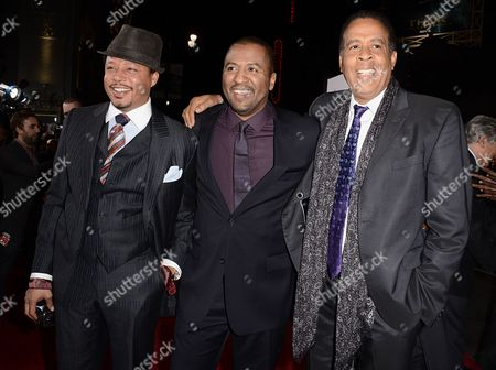 """Stock Photo of From left to right, actor Terrence Howard, director Malcom D. Lee and musician Stanley Clarke arrive on the red carpet for the world premiere of the feature film """"The Best Man Holiday"""" at the TCL Chinese Theatre on in Los Angeles"""