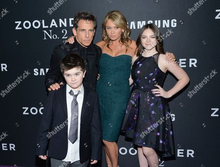 "Stock Picture of Quinlin Stiller, Ella Stiller Actor Ben Stiller poses with his wife Christine Taylor and their children Quinlin and Ella at the world premiere of ""Zoolander 2"" at Alice Tully Hall, in New York"