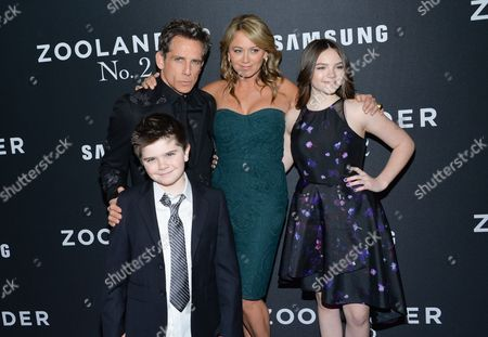 "Quinlin Stiller, Ella Stiller Actor Ben Stiller poses with his wife Christine Taylor and their children Quinlin and Ella at the world premiere of ""Zoolander 2"" at Alice Tully Hall, in New York"
