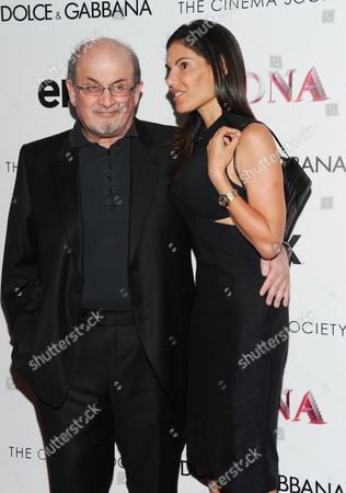"""Author Salman Rushdie and girlfriend Missy Brody attend the world premiere of """"Madonna: The MDNA Tour"""" hosted by The Cinema Society and Dolce & Gabbana at the Paris Theatre on in New York"""