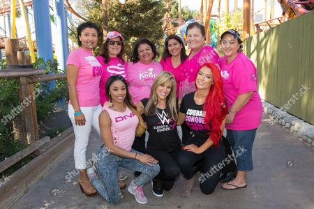"""WWE Divas and stars of E!'s """"Total Divas"""" Eva Marie and Cameron, along with WWE announcer Lilian Garcia met with breast cancer survivors at Knott's Berry Farm on to support the Susan G. Komen Partnership in Buena Park, Calif"""