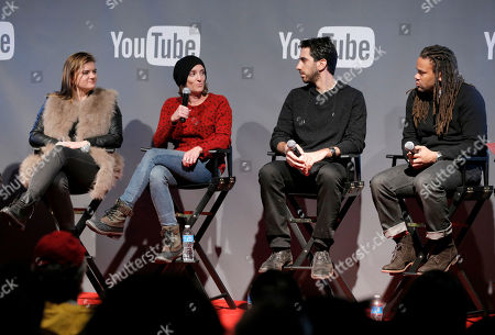 Writer/director Leslye Headland, from left, President of Gloria Sanchez, Jessica Elbaum, Fullscreen CEO George Strompolos, and Black List founder Franklin Leonard are seen at THR Talks panel presented by The Hollywood Reporter and YouTube at Park City Live, in Park City, Utah