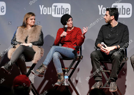Writer/director Leslye Headland, from left, President of Gloria Sanchez, Jessica Elbaum, and Fullscreen CEO George Strompolos are seen at THR Talks panel presented by The Hollywood Reporter and YouTube at Park City Live, in Park City, Utah
