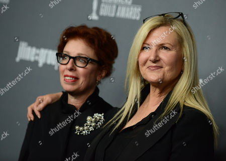 Stock Image of Judianna Makovsky, left, and Jacqueline West arrive at the 15th Annual Costume Designers Guild Awards at The Beverly Hilton Hotel on in Beverly Hills