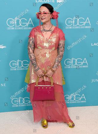 Julie Vogel arrives at the 17th Costume Designers Guild Awards at the Beverly Hilton Hotel, in Beverly Hills, Calif