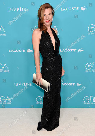 Tanna Frederick arrives at the 17th Costume Designers Guild Awards at the Beverly Hilton Hotel, in Beverly Hills, Calif