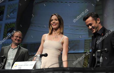 "Rian Johnson, Emily Blunt and Joseph Gordon-Levitt at the ""Looper"" panel at Comic-Con on in San Diego, Calif"