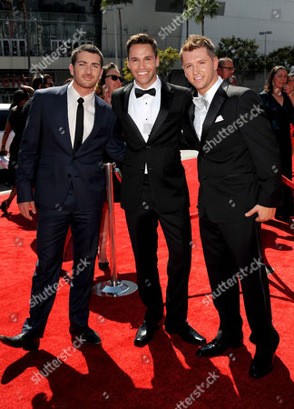 Stock Photo of SEPTEMBER 15: (L-R) Teddy Forance, Nick Lazzarini, and Travis Wall arrives at the Academy of Television Arts & Sciences 64th Primetime Creative Arts Emmy Awards at Nokia Theatre L.A. Live on in Los Angeles, California