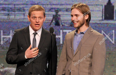 Actors Thure Lindhardt, left, and Zachary Booth speak onstage at the Independent Spirit Awards, in Santa Monica, Calif