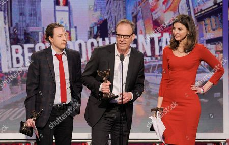 "Producer Tanner King Barklow, producer Amy Ziering and director Kirby Dick accept the award for best documentary for ""the Invisible War"" at the Independent Spirit Awards, in Santa Monica, Calif"