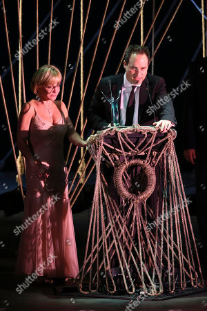 "From left, Cathy Rigby and Brian Kite accept the award for ""Best Season"" for La Mirada Theatre for the Performing Arts during the 24th Annual LA Stage Alliance Ovation Awards held at the San Gabriel Mission Playhouse, in San Gabriel, Calif"