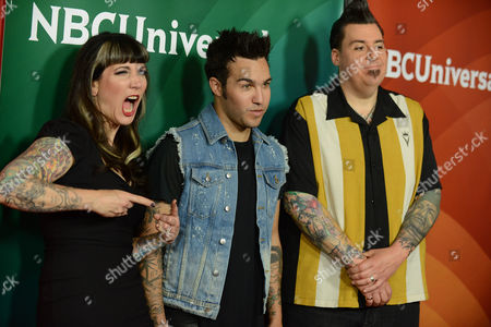 "Stock Photo of From left, Hannah Aitchison, Pete Wentz and Joe Capobianco of Oxygen's ""Best Ink"" arrive at the 2013 NBCUniversal Summer Press Day at The Langham Huntington Hotel and Spa on in Pasadena, Calif"