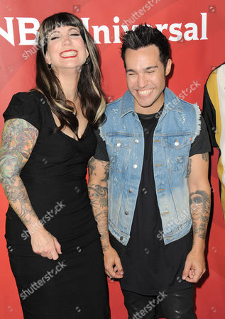 """Hannah Aitchison, left, and Pete Wentz of Oxygen's """"Best Ink"""" arrive at the 2013 NBCUniversal Summer Press Day at The Langham Huntington Hotel and Spa on in Pasadena, Calif"""