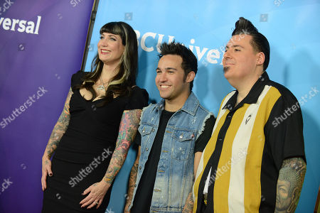 "From left, Hannah Aitchison, Pete Wentz and Joe Capobianco of Oxygen's ""Best Ink"" arrive at the 2013 NBCUniversal Summer Press Day at The Langham Huntington Hotel and Spa on in Pasadena, Calif"