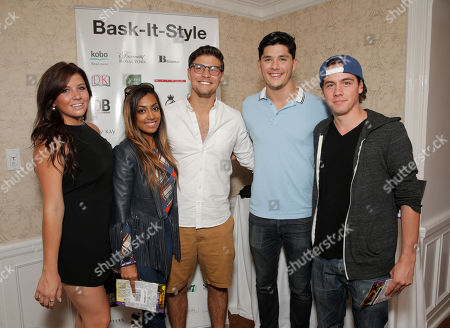 IMAGE DISTRIBUTED FOR BASK-IT-STYLE - The cast of Degrassi, from left, Jessica Tyler, Melinda Shanka, Luke Bilyk, Ricardo Hoyos and Munro Chambers attend the 2014 Bask-It-Style Media Day, on in Toronto, Canada