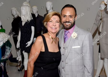 Barbara Bundy, VP Education at FIDM, left, and Nick Verreos, FIDM spokesperson and fashion designer, seen at the Television Academy's 66th Emmy Awards Costume Design and Supervision Nominee Reception at the Fashion Institute of Design & Merchandising, in Los Angeles