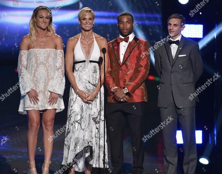 From left, Hannah Rogers, Dara Torres, Golden Tate and Max Lachowecki speak on stage at the ESPY Awards at the Nokia Theatre, in Los Angeles