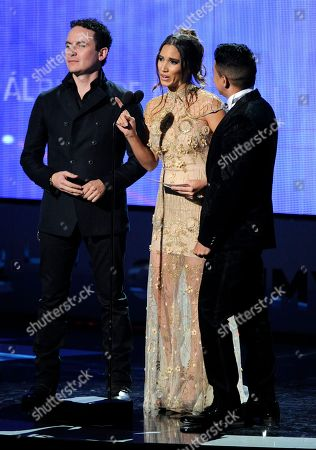 Fonseca, from left, India Martinez and Jorge Celedon present the award for best ranchero album at the 15th annual Latin Grammy Awards at the MGM Grand Garden Arena, in Las Vegas