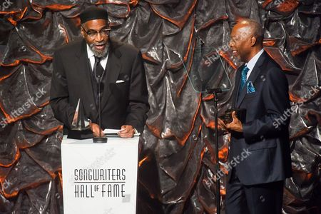 Kenneth Gamble, left, and Leon Huff attend the Songwriters Hall of Fame Awards on in New York