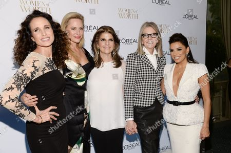 From left, Andie MacDowell, Aimee Mullins, President, L'Oreal Paris, Karen Fondu, Diane Keaton and Eva Longoria attend the Ninth Annual Women of Worth Awards hosted by L'Oreal Paris at The Pierre hotel, in New York