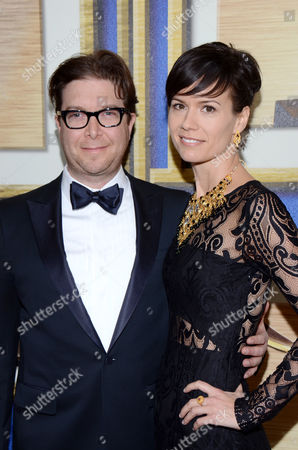 Eric Warren Singer, left, and guest arrive at the Writers Guild Awards,, in Los Angeles