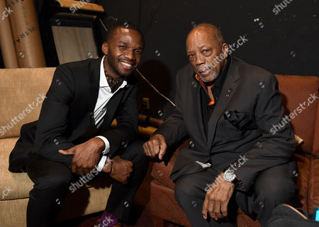 Lee England Jr., left, and Quincy Jones attend Backstage at the Geffen, in Los Angeles