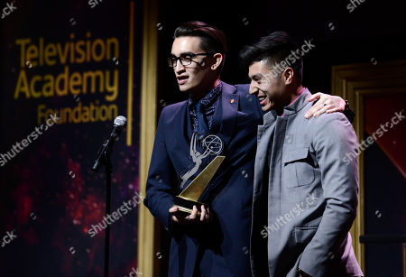 """Christopher Campbell, left, of Art Center College of Design, accepts the 1st Place Commercial award for """"Maglite â?"""" Dreamweaver"""" with Edward Bean at the 36th College Television Awards, presented by the Television Academy Foundation at the Skirball Cultural Center in Los Angeles on"""