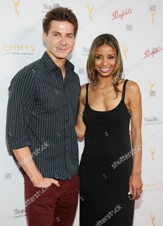 Robert Palmer Watkins, left and Brytni Sarpy seen at the Television Academy's 67th Emmy Daytime Peer Group Celebration at the Montage Beverly Hills on in Beverly Hills, Calif