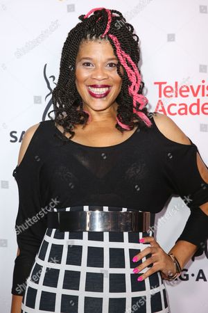 """Tracy """"Twinkie"""" Bird arrives at the 2015 Dynamic and Diverse Emmy Celebration at the Montage Hotel, in Beverly Hills, Calif"""