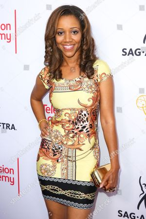 Chrystee Pharris arrives at the 2015 Dynamic and Diverse Emmy Celebration at the Montage Hotel, in Beverly Hills, Calif