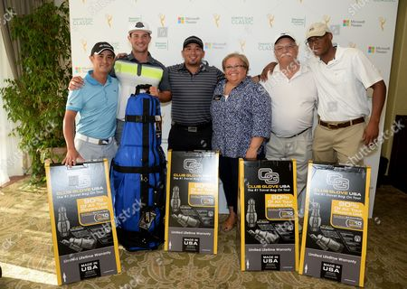 Scott Anderson, from left, Ryan Merriman, Juan Flores, Norma Provencio Pichardo, Allen Anderson, and Nate Kirtman are seen at the 16th Emmys Golf Classic presented by the Television Academy Foundation at the Wilshire Country Club on in Los Angeles
