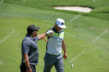 Allen Andersen, left, and Ryan Merriman are seen at the 16th Emmys Golf Classic presented by the Television Academy Foundation at the Wilshire Country Club on in Los Angeles