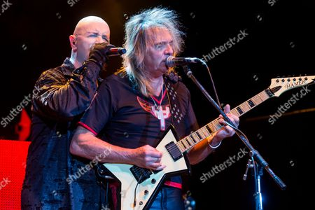 Rob Halford, left, and Glenn Tipton of Judas Priest performs on stage during Day 1 of the 2015 Knotfest USA at San Manuel Amphitheater on in San Bernardino, Calif