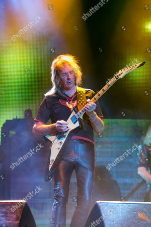 Glenn Tipton of Judas Priest performs on stage during Day 1 of the 2015 Knotfest USA at San Manuel Amphitheater on in San Bernardino, Calif