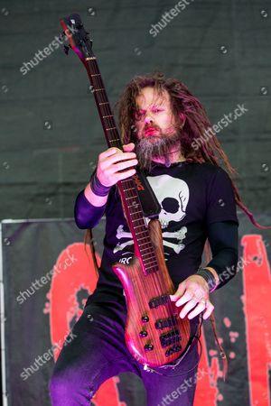 Kyle Sanders of Hellyeah performs during the 2015 Rockstar Energy Drink Mayhem Festival at San Manuel Amphitheater on in San Bernardino, Calif