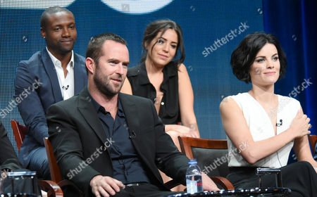 Rob Brown, from left, Sullivan Stapleton, Audrey Esparza and Jaimie Alexander participate in the 'Blindspot' panel at the The NBCUniversal Television Critics Association Summer Tour at the Beverly Hilton Hotel, in Beverly Hills, Calif