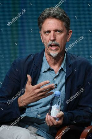 """Executive Producer Tim Kring participates in the """"Heroes Reborn"""" panel at the NBCUniversal Television Critics Association Summer Tour at the Beverly Hilton Hotel, in Beverly Hills, Calif"""