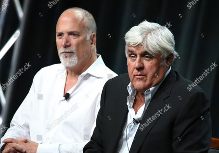 "Jay Leno, right, and Jim Ackerman participate in the ""Jay Leno's Garage"" panel at the NBCUniversal Television Critics Association Summer Tour at the Beverly Hilton Hotel, in Beverly Hills, Calif"