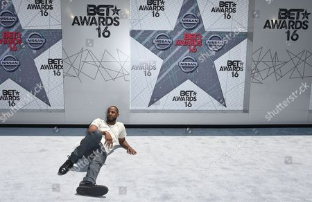 Jackie Long arrives at the BET Awards at the Microsoft Theater, in Los Angeles