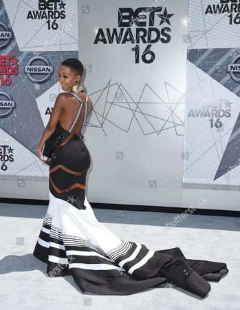 Stock Photo of Nandi Mngoma arrives at the BET Awards at the Microsoft Theater, in Los Angeles