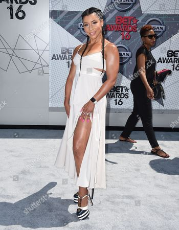 Jeanette Jenkins arrives at the BET Awards at the Microsoft Theater, in Los Angeles