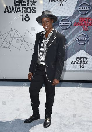 Tish Hyman arrives at the BET Awards at the Microsoft Theater, in Los Angeles
