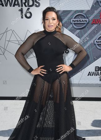 Tisha Campbell-Martin arrives at the BET Awards at the Microsoft Theater, in Los Angeles