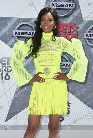 Millen Magese arrives at the BET Awards at the Microsoft Theater, in Los Angeles