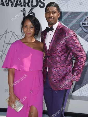 Fonzworth Bentley, right, and Faune A. Chambers arrive at the BET Awards at the Microsoft Theater, in Los Angeles